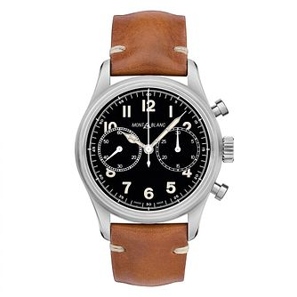 Mont Blanc 1858 Chronograph Men's Brown Leather Strap Watch - Product number 4495853