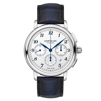 Montblanc Star Legacy Men's Blue Leather Strap Watch - Product number 4495861