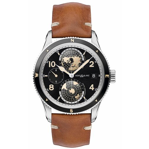 Montblanc 1858 Geosphere Men's Brown Leather Strap Watch - Product number 4495926