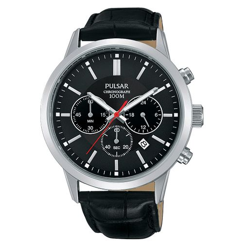 Pulsar Men's Chronograph Black Leather Strap Watch - Product number 4497929