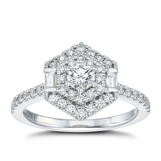 Vera Wang 18ct White Gold 0.69ct Diamond Hexagon Halo Ring - Product number 4499166