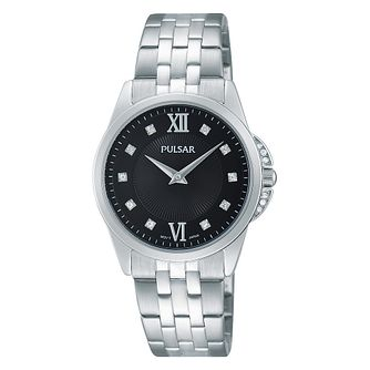 Pulsar Ladies' Black Dial Stainless Steel Bracelet Watch - Product number 4499441