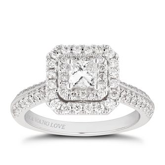 Vera Wang 18ct White Gold 0.95ct Diamond Cushion Halo Ring - Product number 4500334
