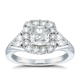 Vera Wang 18ct White Gold 1.95ct Diamond Cushion Halo Ring - Product number 4502426