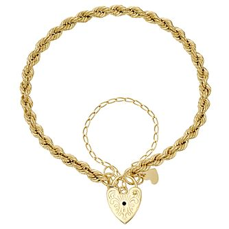9ct Gold Rope Chain & Padlock Bracelet - Product number 4502965