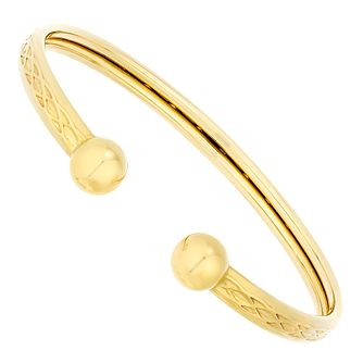 c1276304db2f4 9ct Gold Patterned Hollow Torque Bangle
