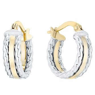 9ct Two Colour Rope Edge Design Hoop Earrings - Product number 4503317