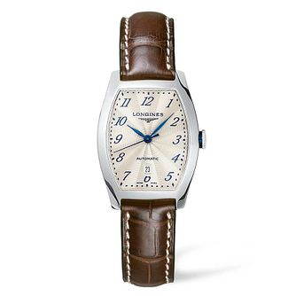 Longines Evidenza Ladies' Brown Leather Strap Watch - Product number 4503341