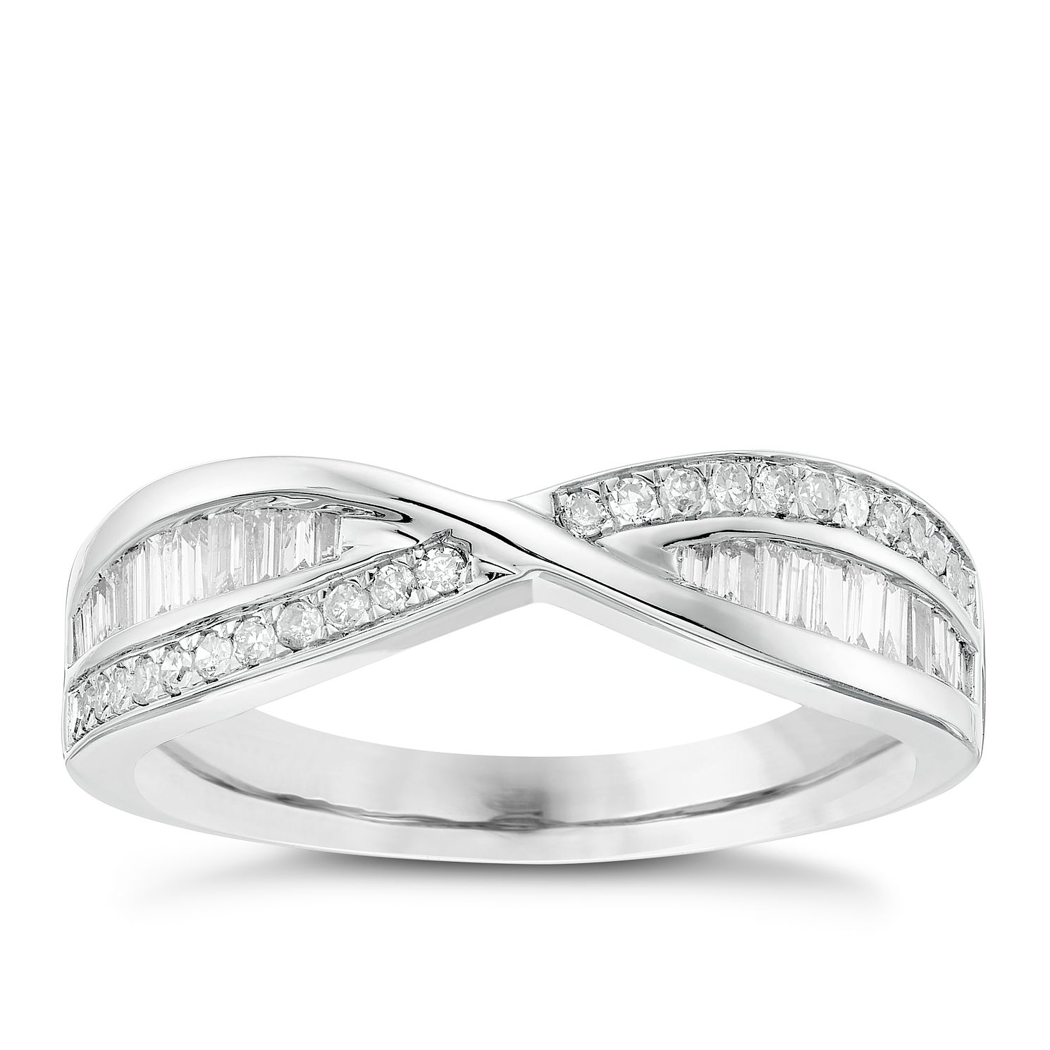 Platinum 1/3ct Diamond Crossover Ring - Product number 4503694