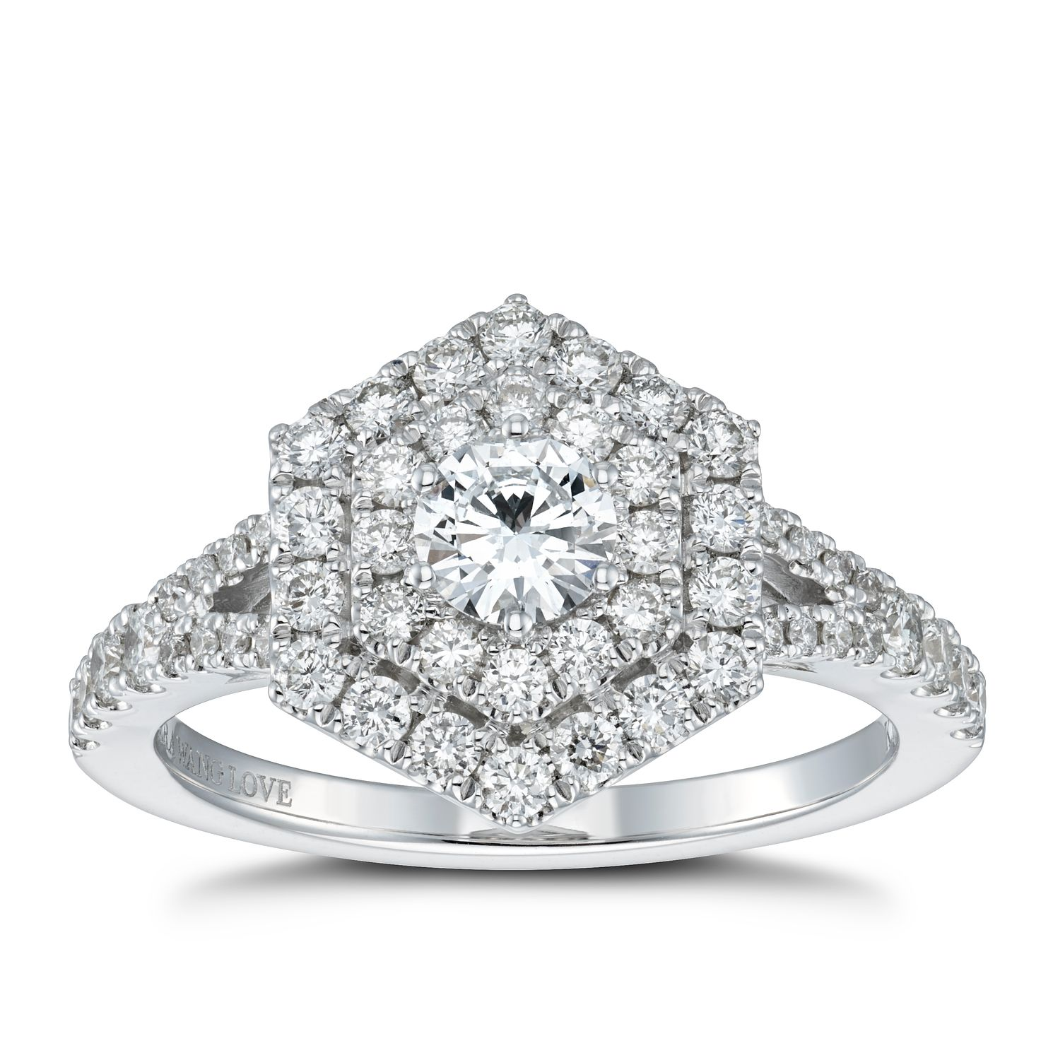 Vera Wang 18ct White Gold 0.95ct Diamond Hexagon Halo Ring - Product number 4503813