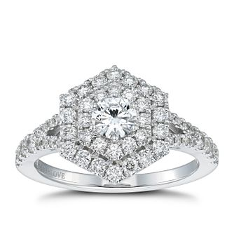 Vera Wang 18ct White Gold 0.95ct Total Diamond Halo Ring - Product number 4503813