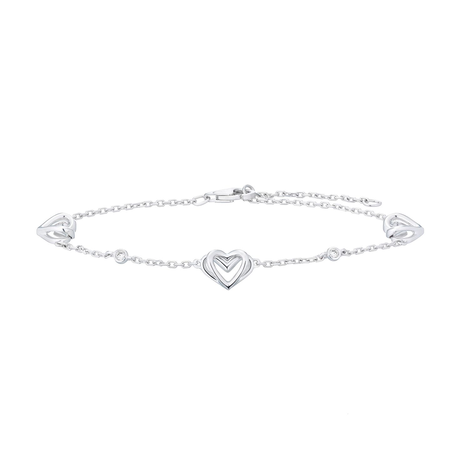 Vera Wang Sterling Silver Diamond Kindred Heart Bracelet - Product number 4504119