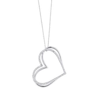Vera Wang Silver 3/4ct Diamond Kindred Heart Pendant - Product number 4504275