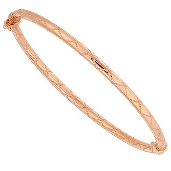 9ct Rose Gold Sparkle Cut Hinged Bangle - Product number 4505972