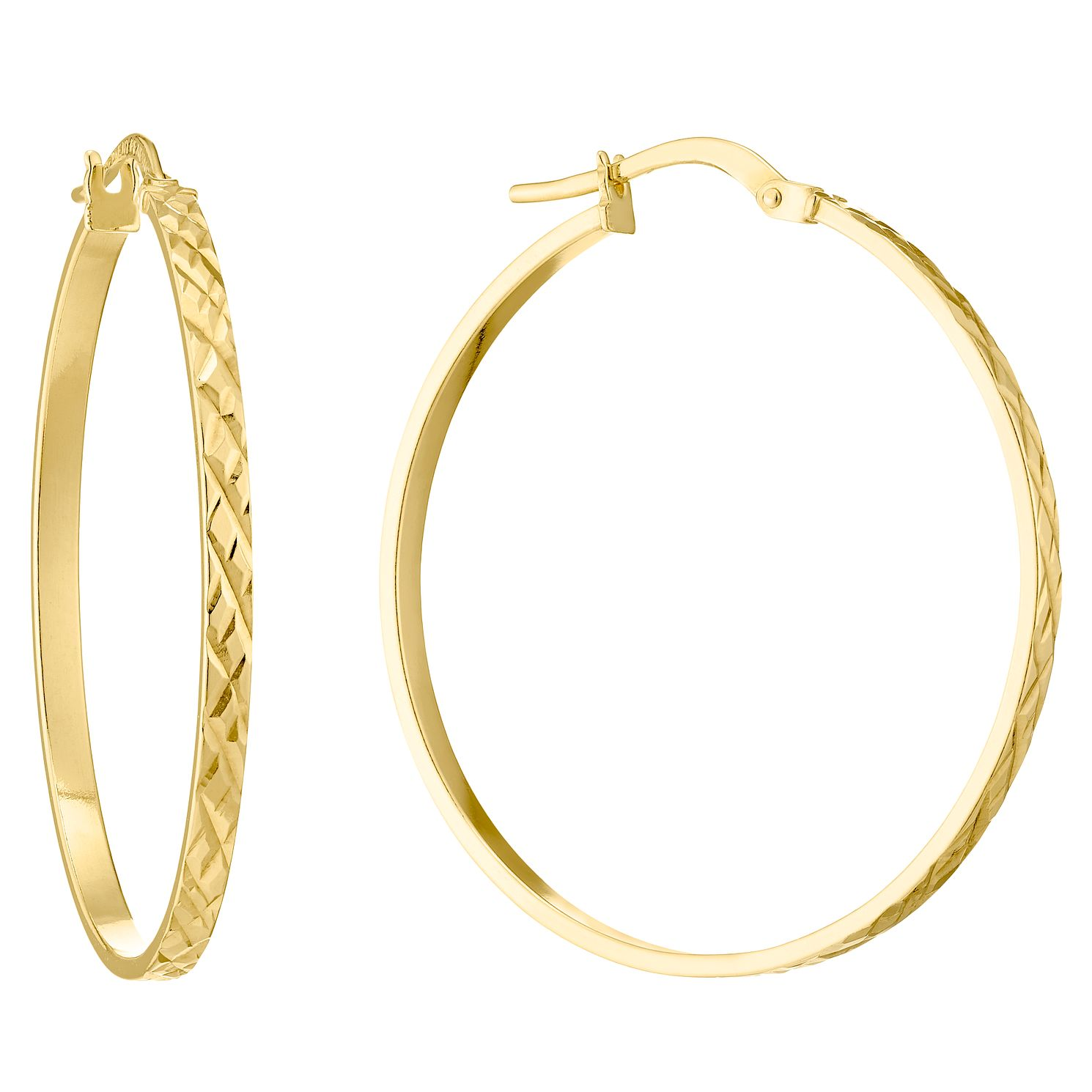 9ct Yellow Gold Diamond Cut 27mm Hoop Earrings - Product number 4506405