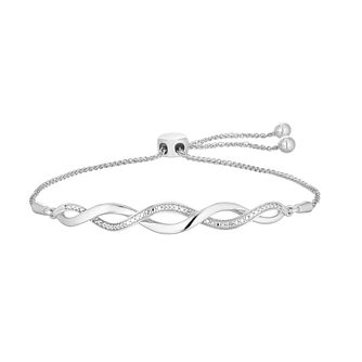 Sterling Silver Diamond Twist Bolo Bracelet - Product number 4506987
