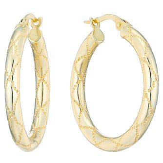 9ct Yellow Gold Patterned 20mm Hoop Earrings - Product number 4507002