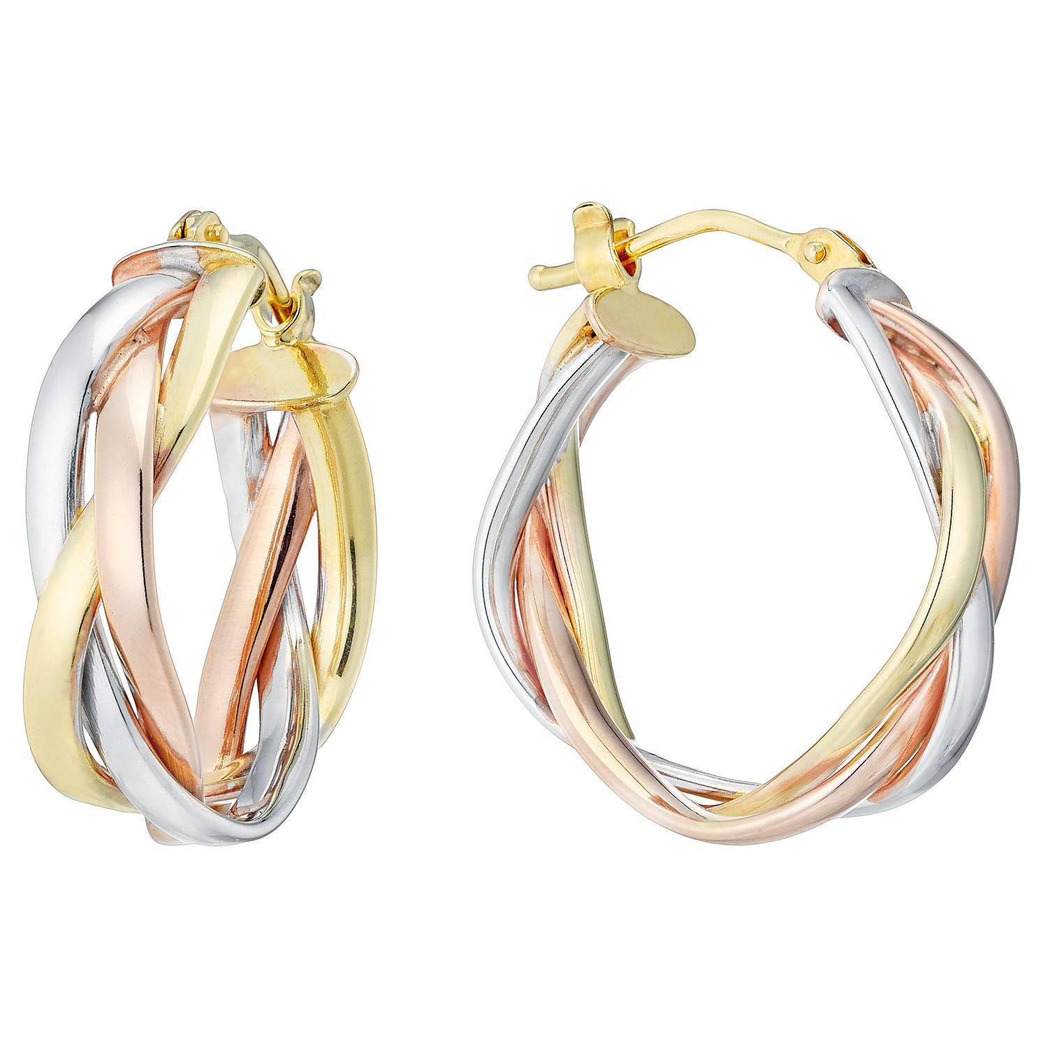 9ct 3 Colour Gold Braided 15mm Hoop Earrings - Product number 4507428