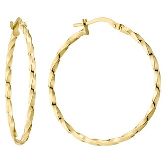 9ct Yellow Gold Twist 30mm Hoop Earrings - Product number 4507509
