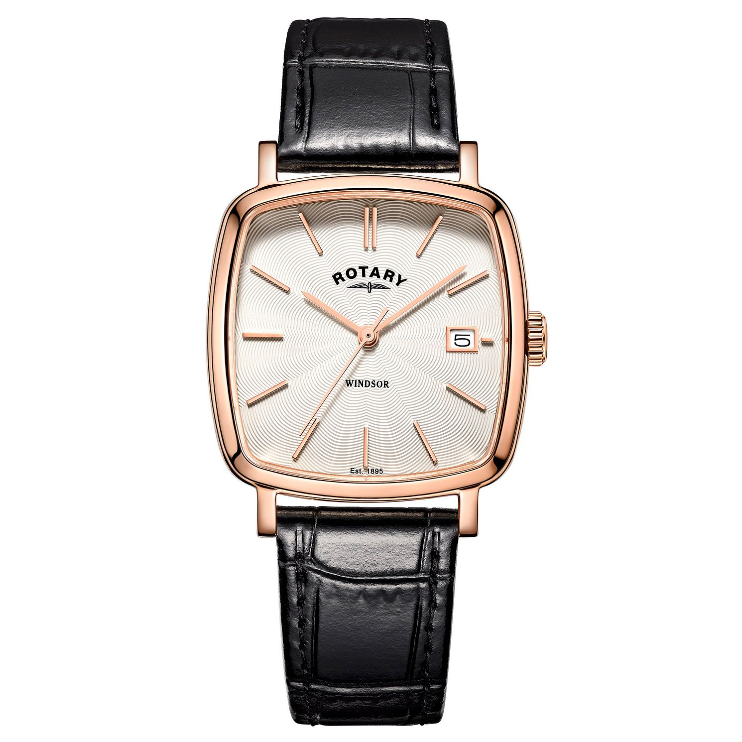 Rotary Men's Windsor Black Leather Strap Watch - Product number 4507622