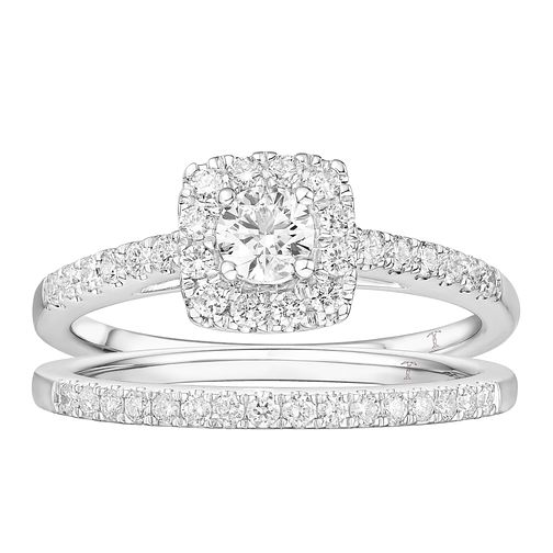 Tolkowsky 18ct White Gold 3/4ct Diamond Halo Bridal Set - Product number 4507975