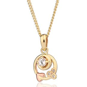 Clogau Two Tone Gold White Topaz Origin Pendant - Product number 4508831