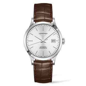 Longines Record Men's Brown Leather Strap Watch - Product number 4509315