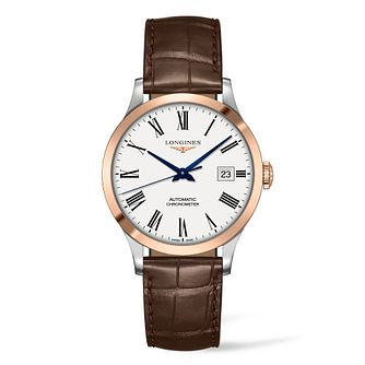 Longines Record Men's Brown Leather Strap Watch - Product number 4509366