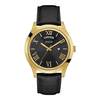 Guess Men's Round Black Dial Black Leather Strap Watch - Product number 4509412
