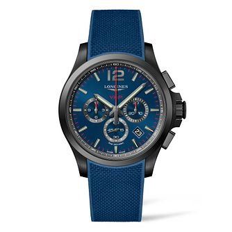 Longines Conquest V.H.P Men's Blue Rubber Strap Watch - Product number 4509692
