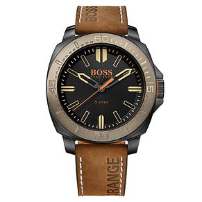 Boss Orange Men's Black Dial Brown Leather Strap Watch - Product number 4509935