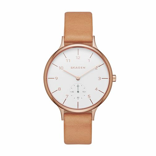 Skagen Ladies White Dial Brown Leather Strap Watch - Product number 4510119