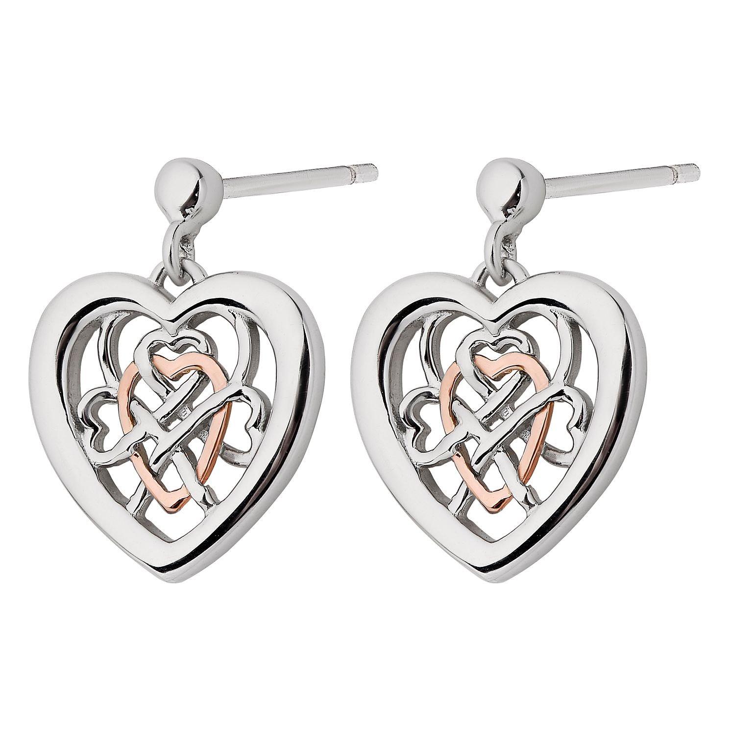 Clogau Sterling Silver & Gold Welsh Royalty Heart Earrings - Product number 4511662