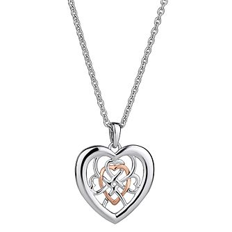 Clogau Sterling Silver & Gold Welsh Royalty Heart Pendant - Product number 4511689