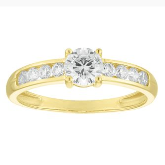 9ct Yellow Gold Solitaire Cubic Zirconia Ring - Product number 4513932