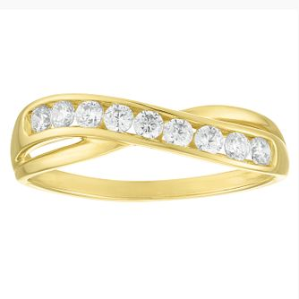 9ct Yellow Gold Channel Set Cubic Zirconia Crossover Ring - Product number 4514157