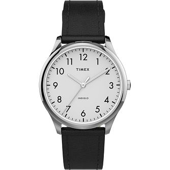 Timex Ladies' White Dial Black Leather Strap Watch - Product number 4514238