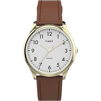 Timex Ladies' White Dial Brown Leather Strap Watch - Product number 4514246