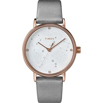 Timex Indiglo Ladies' Grey Leather Strap Watch - Product number 4514408