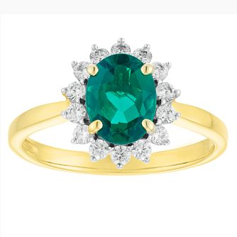 9ct Gold Created Emerald And Cubic Zirconia Cluster Ring - Product number 4514513