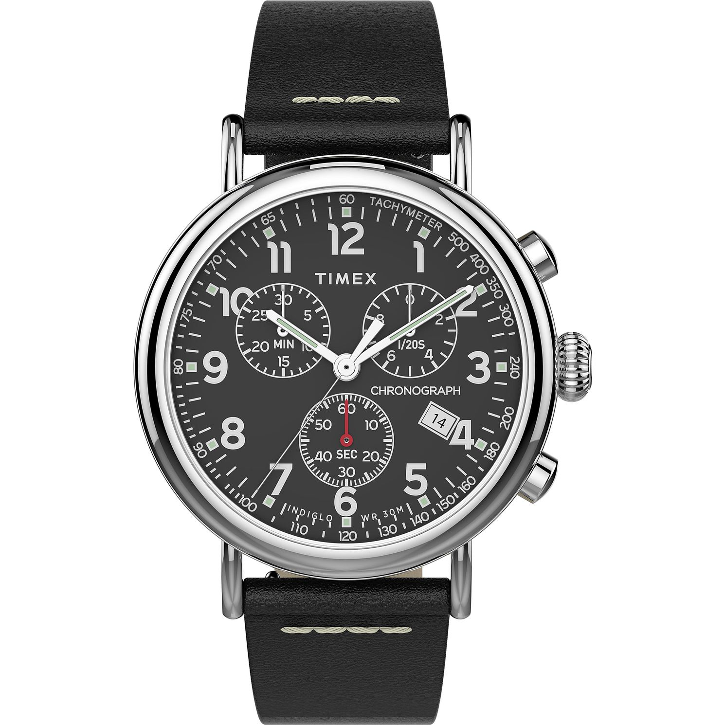 Timex Men's Black Cronograph Leather Strap Watch - Product number 4514718