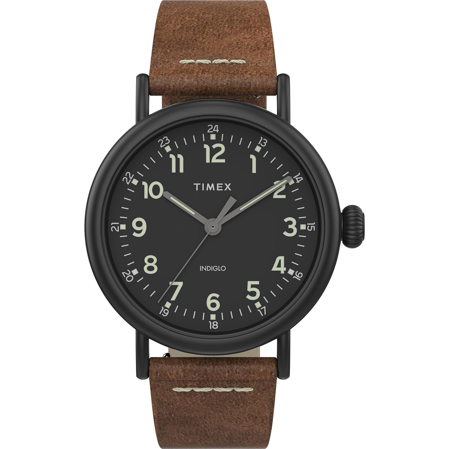 Timex Men's Classic Black Dial Brown Leather Strap Watch - Product number 4514734