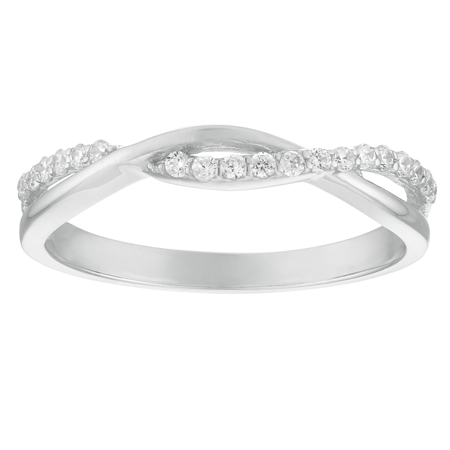 9ct White Gold Cubic Zirconia Twist Ring - Product number 4514998