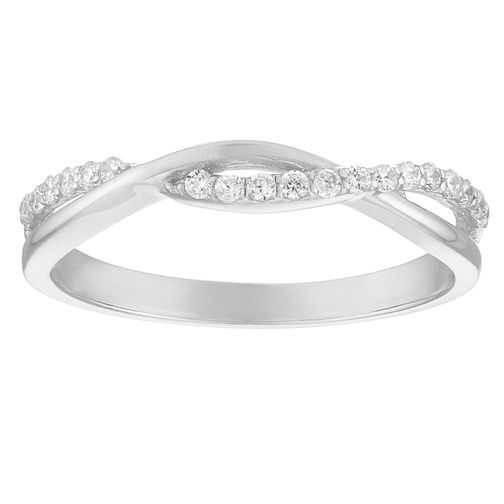 f1a6e8212b4981 9ct White Gold Cubic Zirconia Twist Ring - Product number 4514998