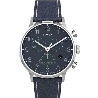 Timex Waterbury Classic Chrono Blue Leather Strap Watch - Product number 4515056