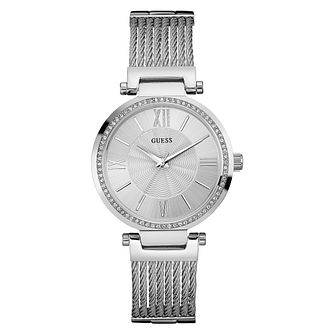 Guess Ladies' Silver Tone Rope Style Bracelet Watch - Product number 4515315