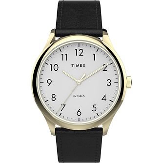 Timex Men's Classic Gold Tone Case Black Leather Strap Watch - Product number 4515420