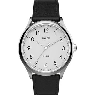 Timex Men's Classic White Dial Black Leather Strap Watch - Product number 4515463