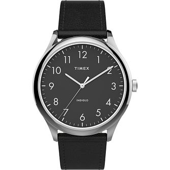 Timex Men's Classic Silver Tone Black Leather Strap Watch - Product number 4515471