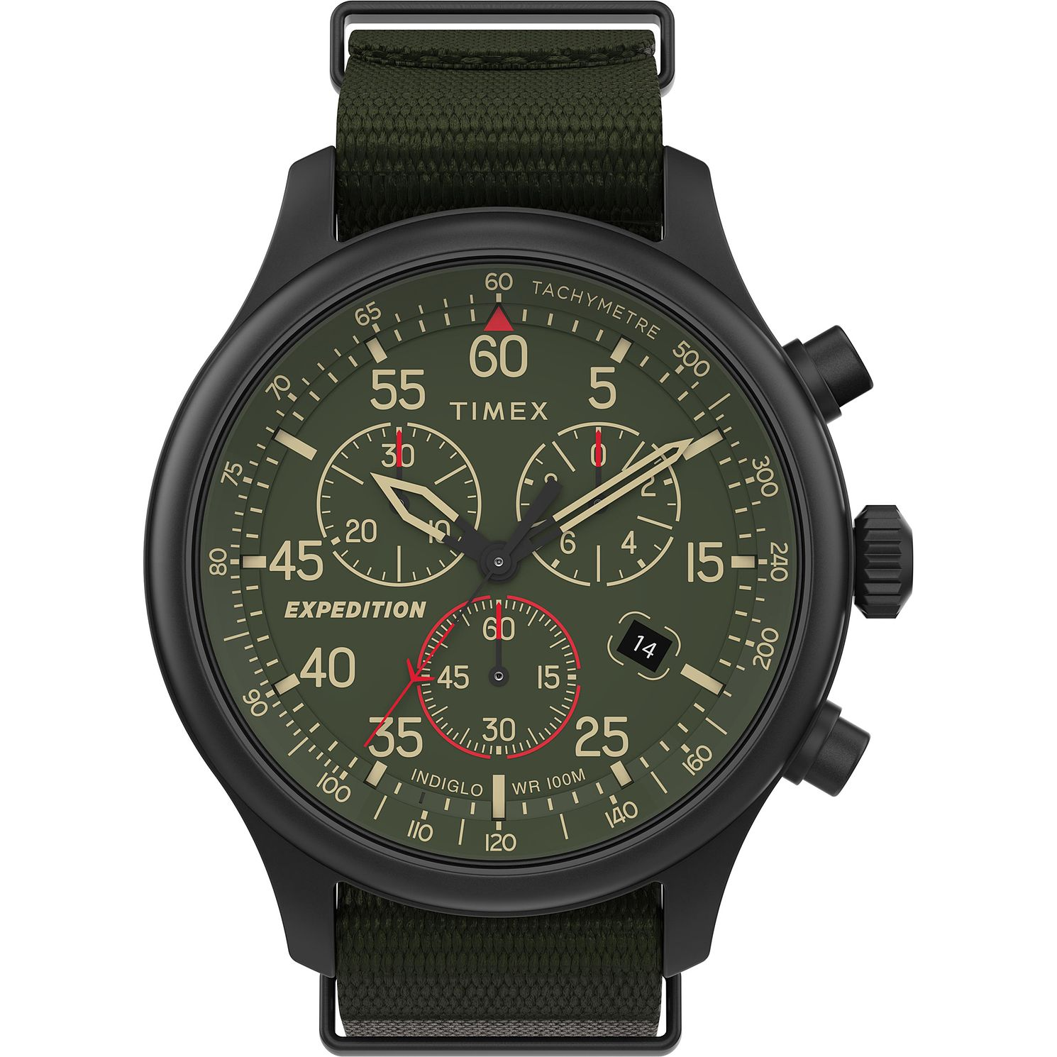 Timex Expedition Men's Cronograph Green Fabric Strap Watch - Product number 4515544